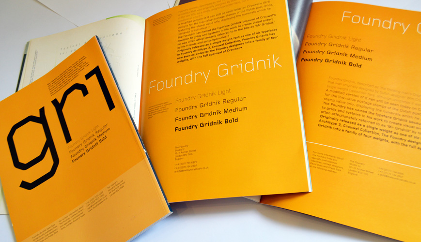 A collection of Foundry Gridnik Eye and Grafik ads.