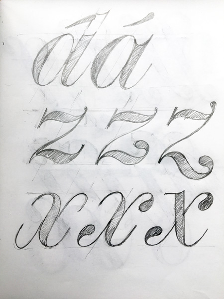 David's Foundry Tiento 'a, z, and x' sketches.