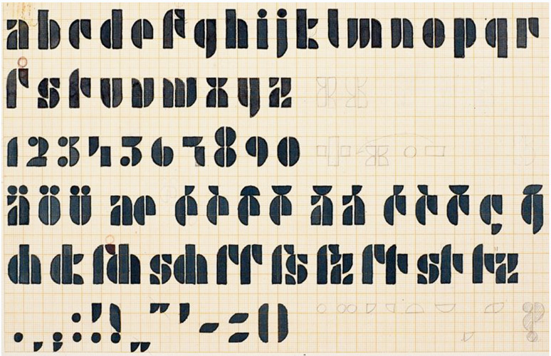 """Josef Albers design for a """"Universal Typeface"""" 1926"""
