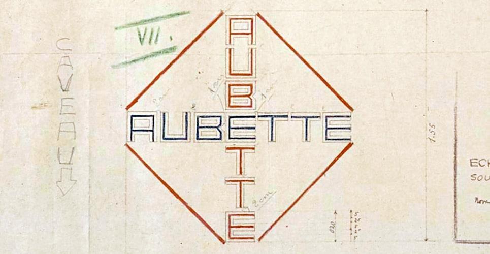 Van Doesberg's lettering sketch for the Café Aubette, Strasbourg, 1928.