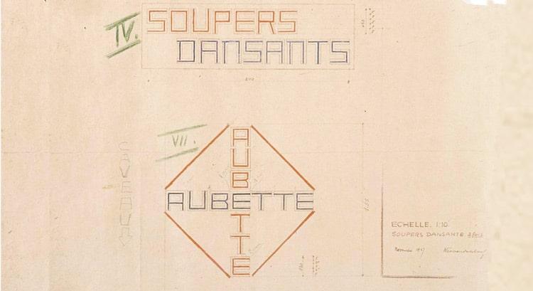 Van Doesberg's pencil sketch, 'Soupers Dansants', Café Aubette
