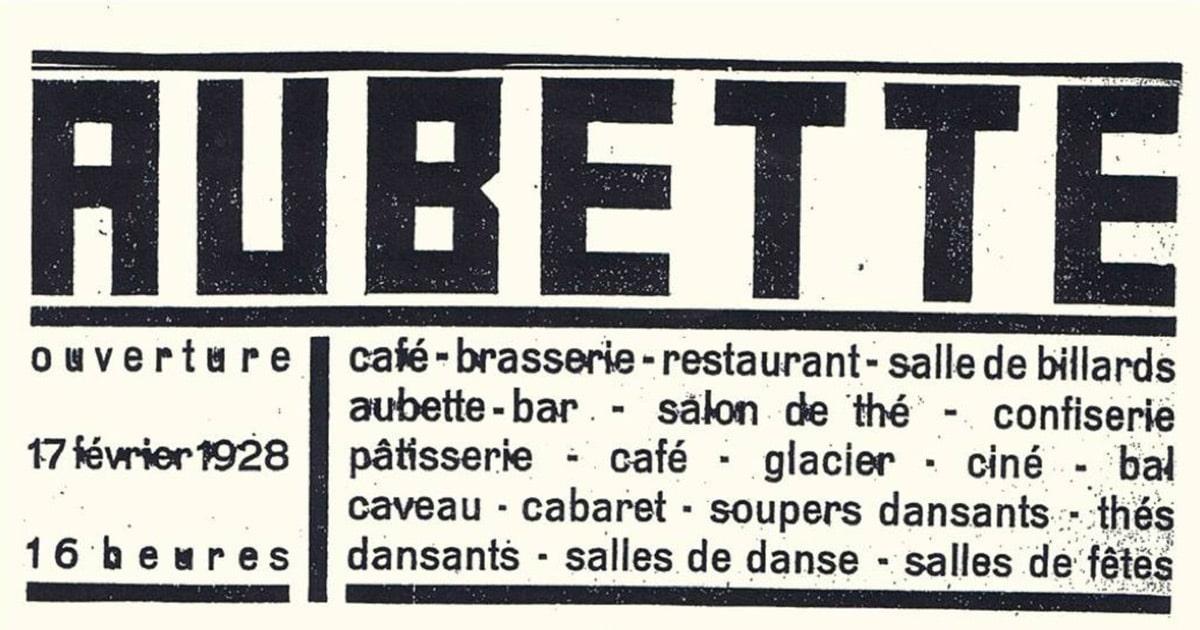 Van Doesberg's lettering for the inauguration at The Café Aubette, Strasbourg, 17 February 1928.