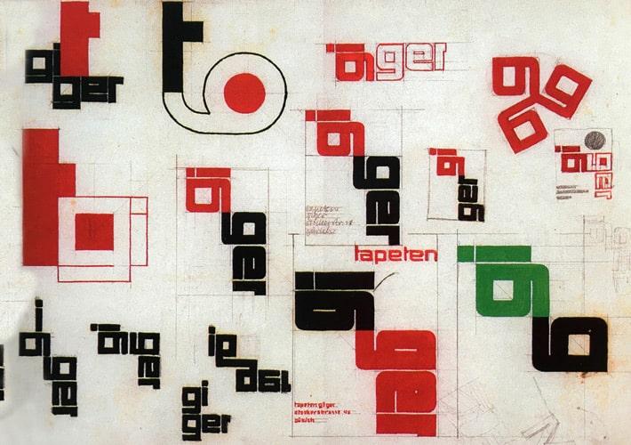 Theo Ballmer's 'Tapeten Giger' logo designs from 1931.