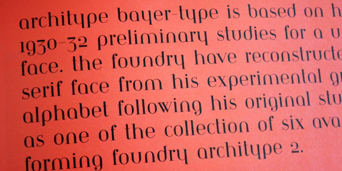 Architype Bayer-Type, Graphics International 92, Feb 2002, p29.