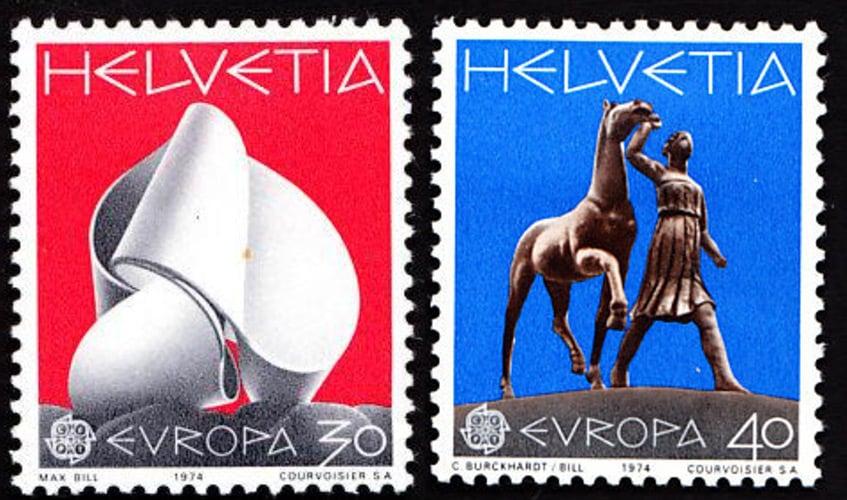 Max Bill's 'Helvetia' postage stamp, 1974.