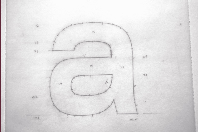 Foundry Monoline lowercase 'a' artworked.