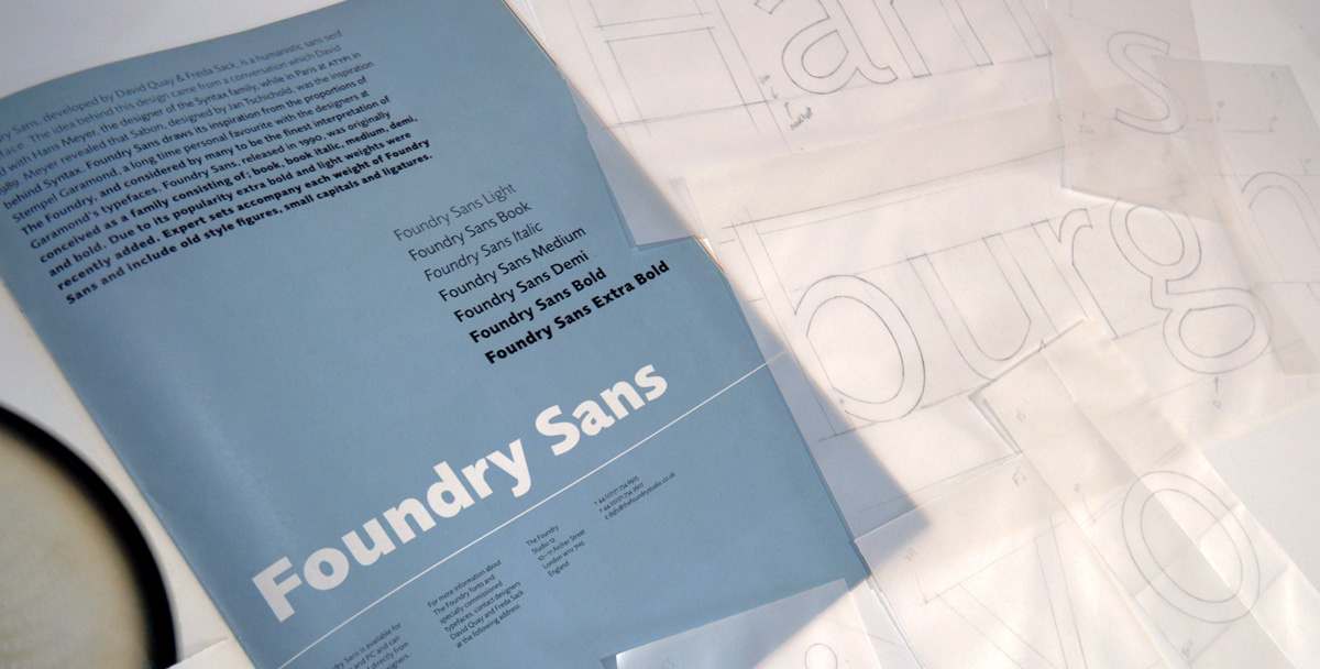 Foundry Sans, Graphics International 89, Oct 2001, p.39 and sketches.