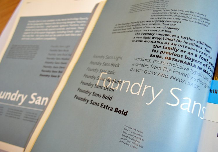 Foundry Sans Eye and Grafik adverts