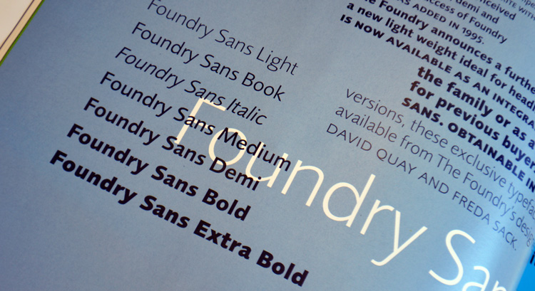 Foundry Sans, Eye 23 – Winter 1996, p.22.