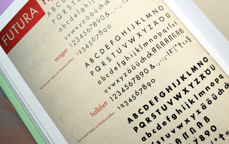 Futura type specimen showing Light, Medium and Bold, 1930.