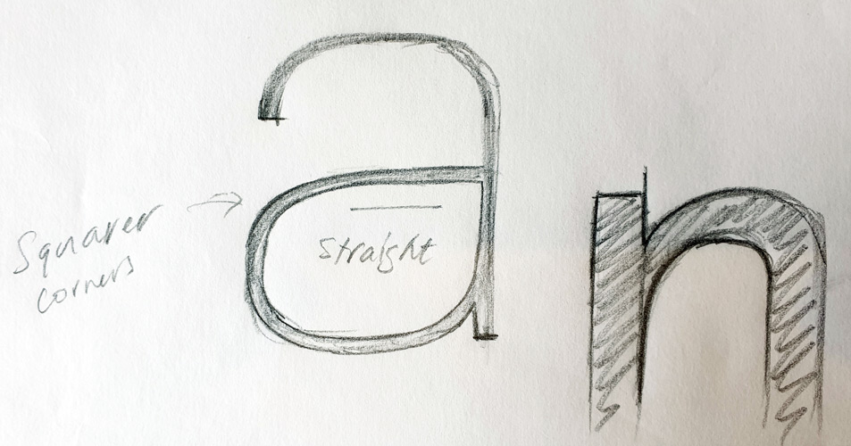 Foundry Monoline lowercase 'a' rough sketch.