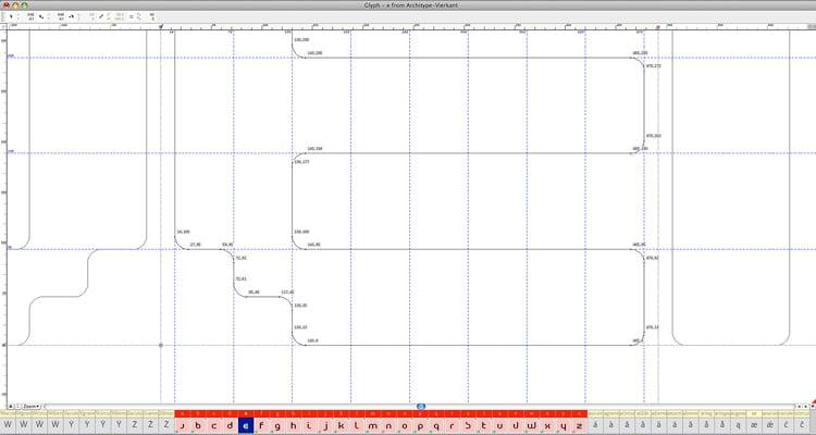 Architype Vierkant, 'in progress' grid.