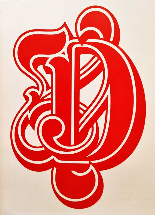 Freda's handcut rubylith master for the initial capital D for Letraset Masquerade (Martin Wait, 1977).