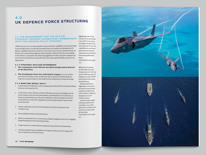 Now or Never: The Global Forecaster UK Strategic Defense Review 2020, © Apollo Analysis Ltd – designed by Peter Dawson at Grade Design using Foundry Context.