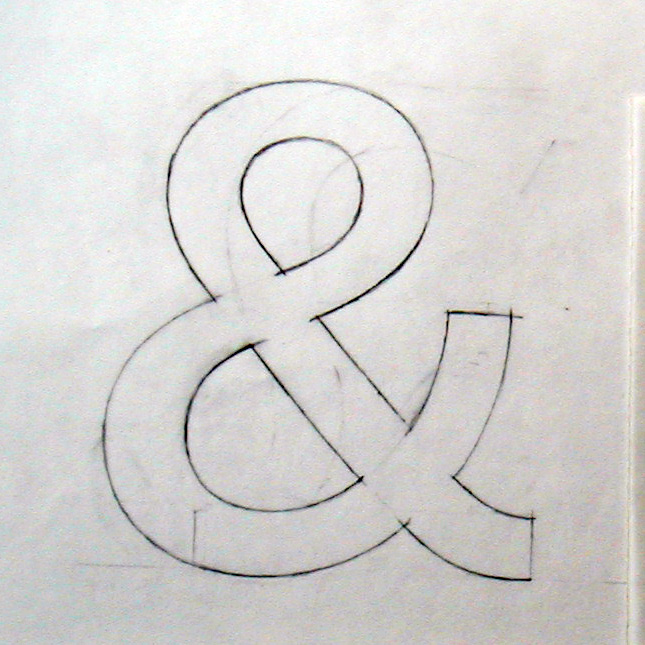 A pencil sketch of the 'Ampersand' for the Railtrack typeface 'Brunel'.