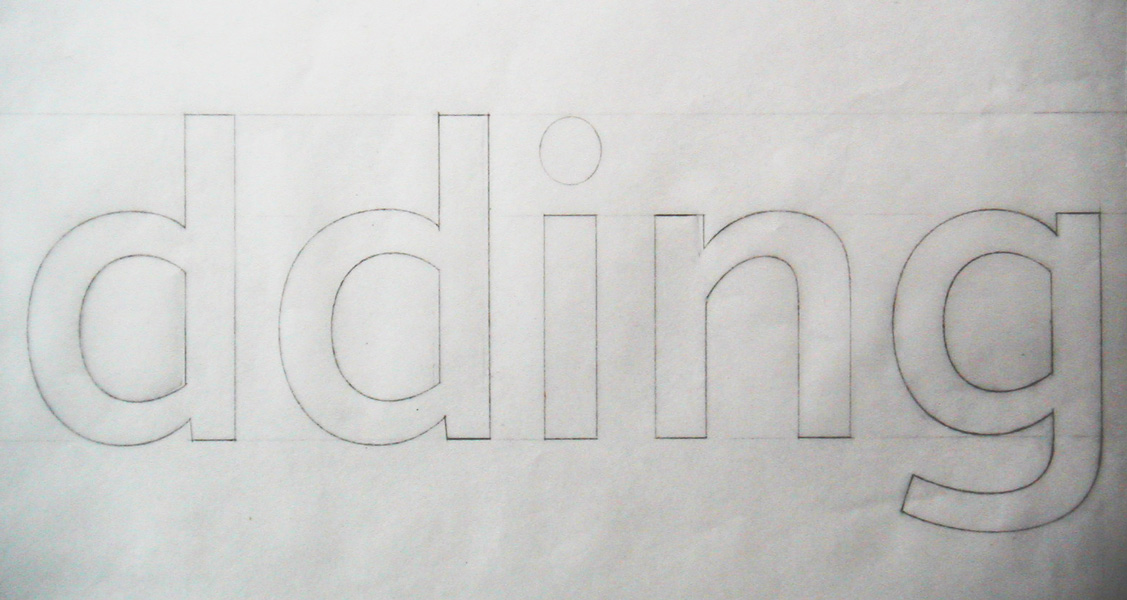 A pencil sketch of the 'dding' for the Railtrack typeface 'Brunel'.