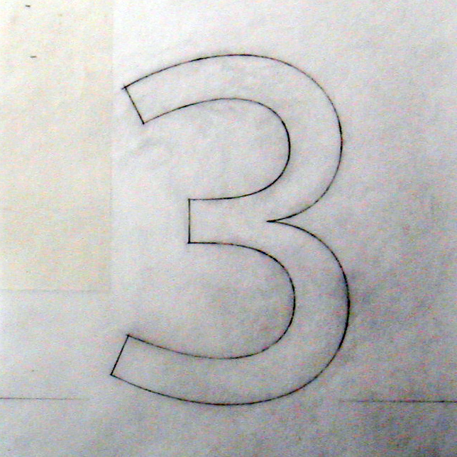 A pencil sketch of the '3' for the Railtrack typeface 'Brunel'.