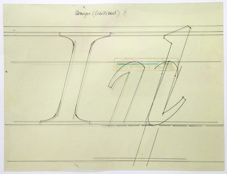 Freda's working guide 'jig' template for the typeface Galliard by Matthew Carter for Mergenthaler.