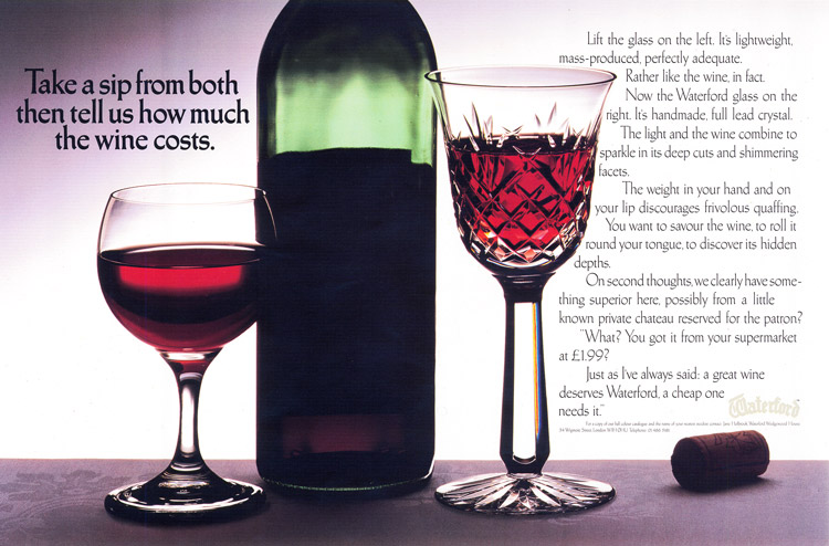 Printed advert for Waterford Crystal showing the 'cut glass' style typeface.