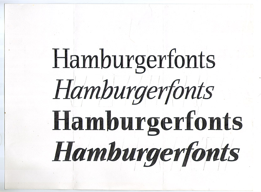 Early proof of Helicon Light and Bold plus Italics by David Quay (c. 1988). Note the cut lines indicating adjustment of letterspacing.