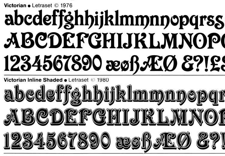 Letraset, Victorian 1976 and Letraset Victorian Inline Shaded 1980, line scan.