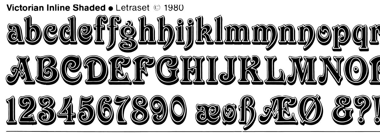 Letraset, Victorian Inline Shaded 1980, line scan.