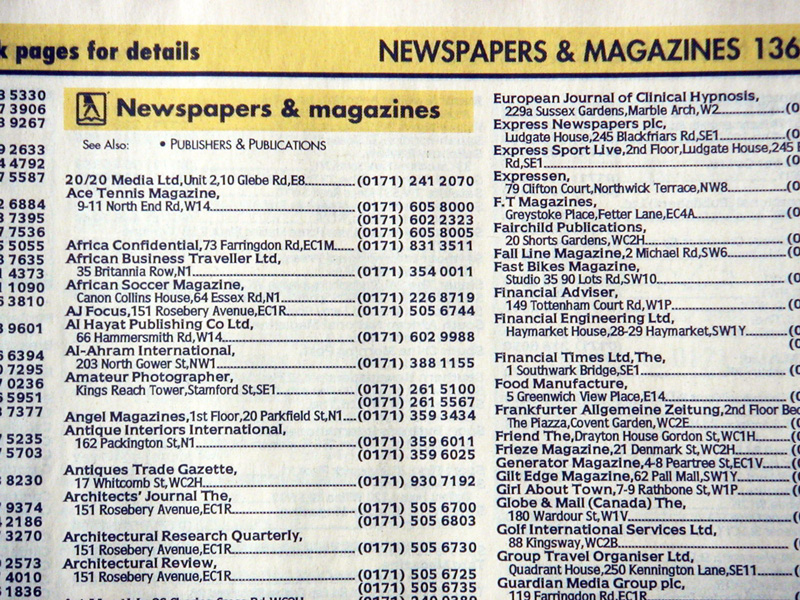 An example page of Yellow Pages before the redesign.