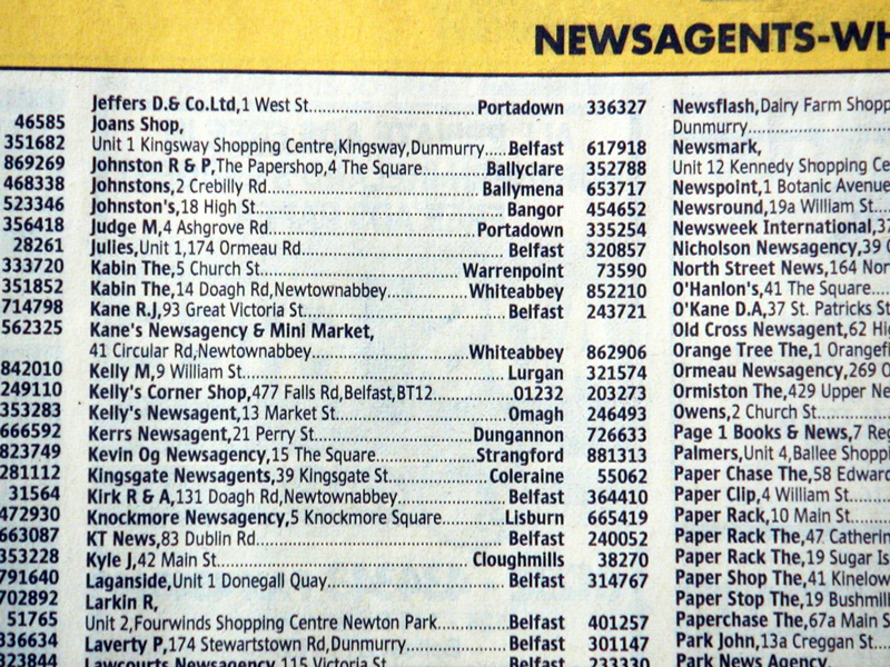 The new Yellow Pages font in a final printed example.