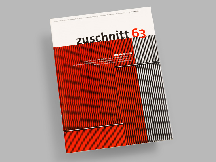 Zuschnitt – Architecture and timber building magazine. Designed by Atelier Andrea Gassner using Foundry Journal.